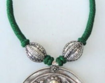 Ethnic Tribal Old Silver Necklace Pendant Amulet Shiva