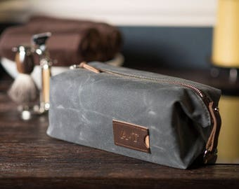 Personalized Dopp Kit: Expandable, Men's Toiletry Bag, Travel, Waxed Canvas, Slate Gray - No. 345 (Made in the USA) FREE Domestic SHIPPING