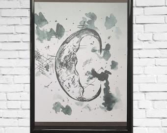 Sleepy moon, art, watercolour, print, wall print, decor