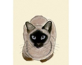 """Seal point siamese cat art - Blue Eyes -    8.3"""" X 11.7""""  cat print - 4 for 3 SALE"""