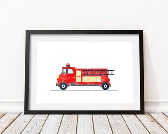 Fire truck print Watercolor decor Firetruck wall art Fire truck wall art Transportation art Fire engine print Kids bedroom wall art