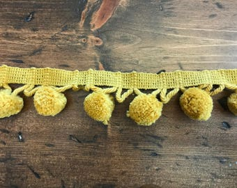 Vintage 60s Pom Pom Trim Gold by the Yard, Craft, Pillow, Home Decor, Ugly Sweater (B928)