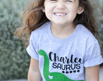 Girl Dinosaur Shirt, Dinosaur Shirt, Dinosaur Tshirt, Personalized shirt, Personalized T-shirt, Personalized T-Shirt, Personalized Dinosaur