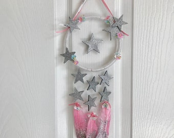 """Girl Room Tiny 5"""" Feather Wall Hanging/Dream Catcher/Glitter Feather/Star/Kids Room Décor/baby shower/nursery décor/baby mobile/wall décor"""