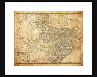 Texas Map - Print - Poster