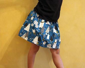 Bears and owls skirt/Buzoku cotton skirt/Bears and friends skirt/Cotton duck/Teal/Mustard