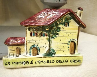Vintage Italian ceramic plaque house shaped with phrase for Mother's Day years 1950's Osvaldo Dolci Gualdo Tadino, mother's day gifts