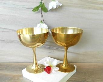 "Vintage Brass glasses,Brass margarita cups,Brass wine glasses,Set of 2 /4.5"" T /"