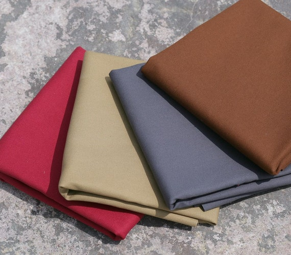 """English cotton sanded canvas fabric - 3/4 yard of 60"""" wide medium weight in a choice of four colours"""