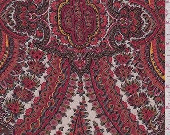 Red/White/Orange Floral Medallion Polyester Crepe, Fabric By The Yard