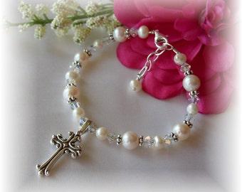 Freshwater Pearl First Communion Bracelet Sterling Silver Cross