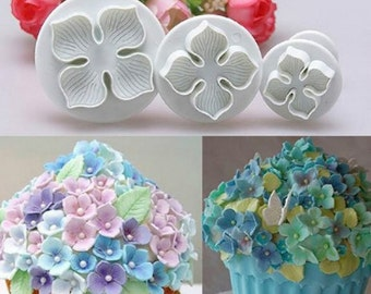 3 pc Hydrangea Cookie Cutter Plunger Mold Set - SLH022 Flower Garden Bouquet Candy Fondant Cutter