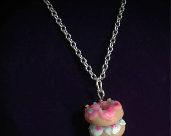 Donut Necklace Stacked Donuts Doughnut Jewelry Donut Jewelry Sprinkled Donut Pink Donut