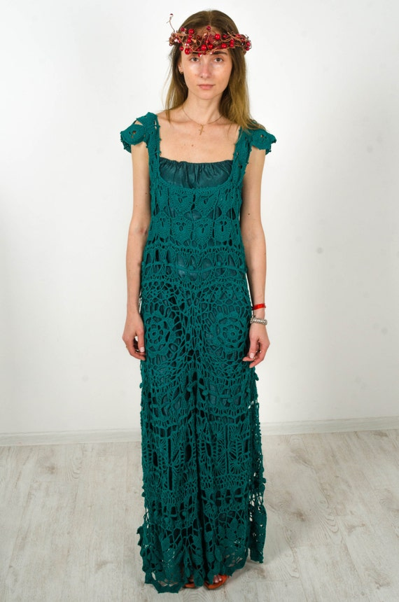 garment cotton green lacy dress maxi Crocheted Handmade evening Beachwear handmade sundress Dress Crochet emerald Crochet dress maxi qaAAvw1B