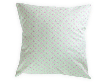 Green Pink Floral Pillow Cover - Shabby Chic Pillow Cover - Floral Nursery Pillow