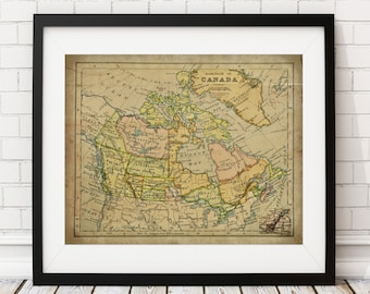 Canada Map Print, Vintage Map Art, Antique Map Wall Decor, Canadian Wall Art, Canada Art, Canada Print, History Gift, Cartography, Geography