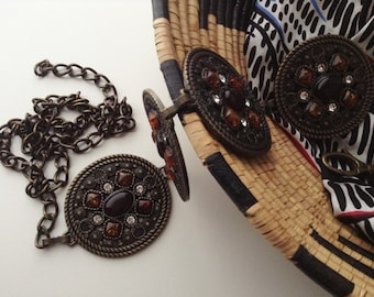 Vintage brass belt with amber cabochons and rhinestones, gipsy metal belt for woman, ethnic accessories