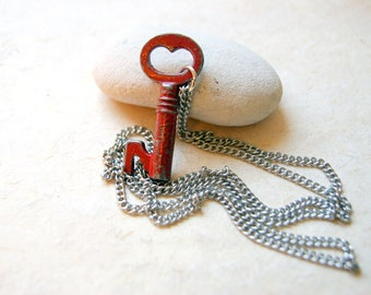 Key to My Heart Necklace - Vintage Red Heart Skeleton Key Necklace with Vintage Stainless Steel Chain - LAST ONE