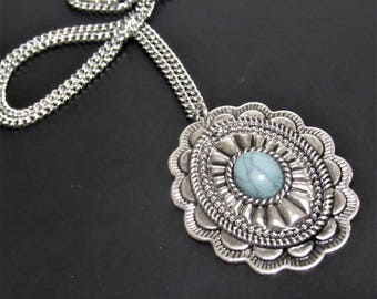 Vintage Pendant Necklace, Turquoise Stone, Mothers Day Gift, Grandmother Gift, Grandma Gift, Mother Necklace, Grandma Necklace, Moms Days