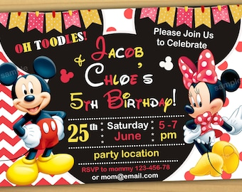 SALE Mickey and minnie mouse Birthday Invitation, Mickey and minnie mouse twins invitation, Mickey and minnie mouse siblings invitation