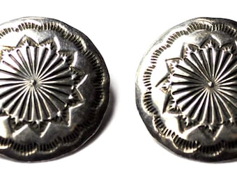 Sterling Silver John Chavez Round Shield Etched Sunburst Clip on Earrings 26mm