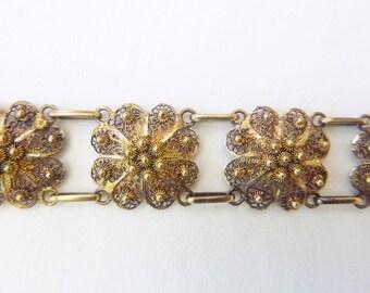 Cannetille gold wash floral filigree sectional bracelet circa 1930s