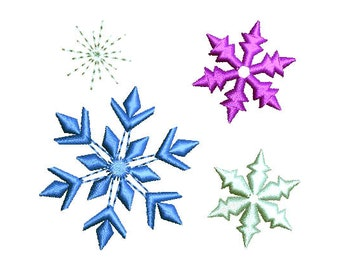 Snowflakes Machine Embroidery Design Set Sparkle Bursts Christmas New Year Frozen Ice Princess CHR031