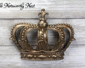 ANY COLOR: Antique Gold Crown Wall Hanging / Gold Decor / Gallery Wall / Nursery Decor / Princess Decor / Crown Decor / Shabby Chic Decor