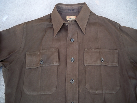 Made Military Gabardine WWII in Men's Large Shirt US 1940s USA Size Regulation Uniform Army Wool Vintage g4pOWq