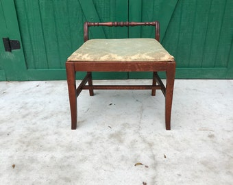 Superb Antique Vanity Bench, Original Upholstery, Dressing Table Seat