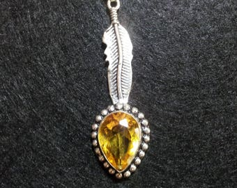 Citrine Necklace, gift for her, Citrine Necklace, Crystal Jewelry, Healing Jewelry, Citrine Crystal Pendant, yellow crystal necklace