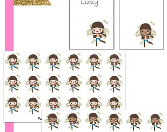 Lizzy Pay Day//Planner Character Stickers//EC//HP
