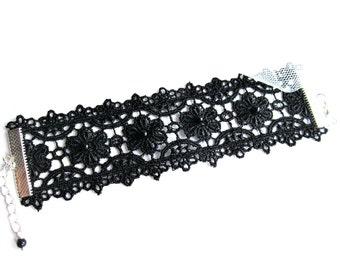 Black lace cuff bracelet, floral lace bracelet, lace flowers bracelet, embroidered lace bracelet, bridesmaids bracelet