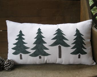 Pillow - Evergreen Trees - Pine Trees - Christmas Trees - Holiday Trees - Trees - Woods - Cabin - Rustic - Farmhouse - 12 x 22 inches