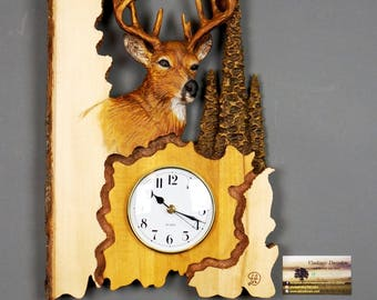 Deer,Wall clock,Wood Carving with Bark,Hand Made Gift,Wall Hanging Clock,for the Deer Funs,Wall Art,Wooden Gift, OOAK by Davydovart