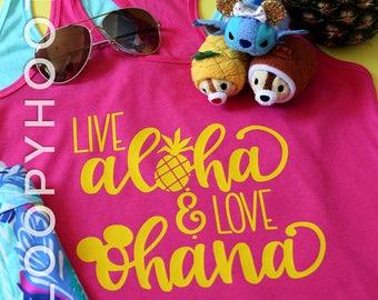 "Disney Shirt ""Live Aloha & Love Ohana"" in RASPBERRY, for Aulani, Hawaii, Animal Kingdom, Pineapple Dole Whip"