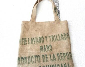 Hand bag tote bag in Burlap recyle
