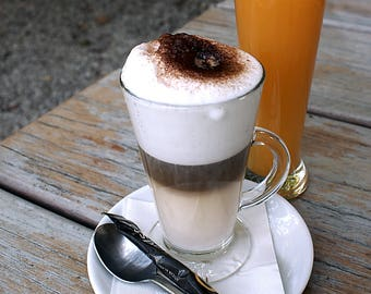 Cappuchino and orange juice.  Buy and frame pictures online. Your own photo canvas easily. Use professional photos to decoration.