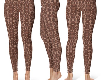 Rustic Leggings Yoga Pants, Earthy Yoga Tights for Women in Shades of Brown