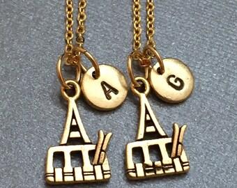 Best friend necklace, ski tramway necklace, ski tramway necklace, bff necklace, sister, friendship  jewelry, personalized, initial, monogram