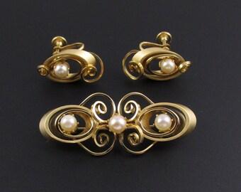 Star Pearl Earrings, Star Pearl Brooch, Brooch and Earrings Set, Genuine Pearl Earrings, Genuine Pearl Brooch, Jewelry Set, Gold Brooch