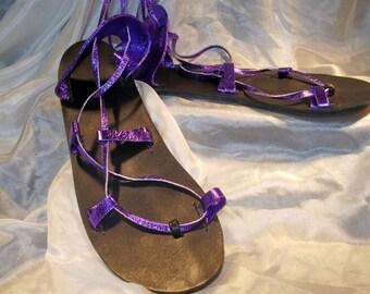 BELLA CARIBE VIOLET Metallic on Black Footbed Lace Up Sandals