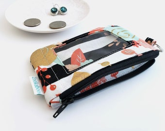 Cute Wallet - Zip ID Case - Student ID Holder - ID Card Holder - Compact Wallet - Keychain Wallet - Coin Purse