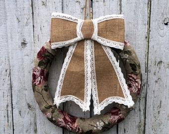 Burlap Floral Wreath, Door Wreath,  Housewarming Wreath, Wedding Wreath