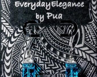 Light topaz blue glass and clear Swarovski bicones Earrings