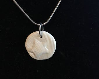 Wampum Circle Raised Star Pendant Necklace