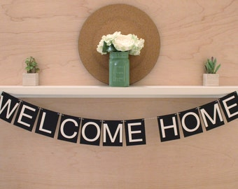 """Welcome Home Banner - Simple Welcome Home Decoration or Photo Prop - Custom Colors - 4"""" Pennants"""