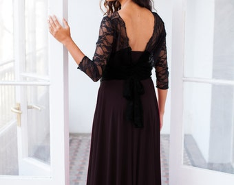 Backless dress, open back dress, black backless dress, lace backless dress, feminine dress, long backless dress, bridesmaid lace dresses