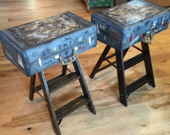 SOLD! Accepting Custom Orders! Nautical Suitcase Nightstands Steampunk  Furniture Coastal Decor Unique End Tables