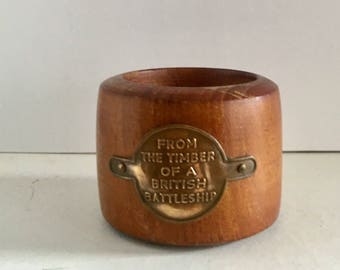 Napkin ring made with wood from a battleship